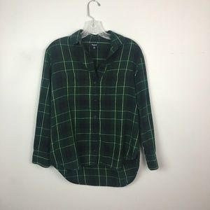 Madewell plaid flannel button up top green yellow